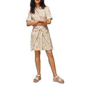 Whistles Dolly Fruit Print Tie Front Dress  - Female - Cream Multi - Size: 18 UK/14 US