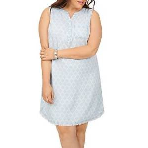 Foxcroft Plus Haven Distressed Print Sleeveless Dress  - Blue Wash - Size: 18W
