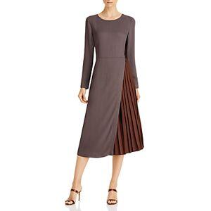 Fabiana Filippi Cady Pleated Midi Dress  - Female - Brown - Size: 48 IT/12 US