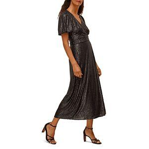 Whistles Sequin Wrap Dress  - Female - Black - Size: 4 UK/0 US
