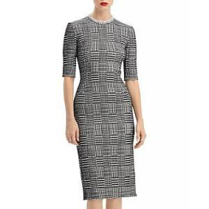 Oscar de la Renta Houndstooth Sheath Dress  - Female - Navy/Ivory - Size: 6