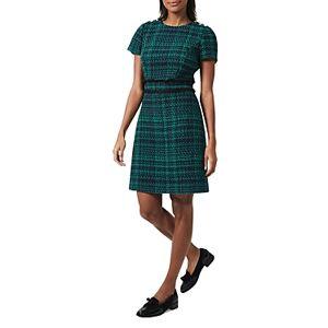 Hobbs London Rosa Tweed Dress  - Navy Apple Green - Size: 18 UK/14 US