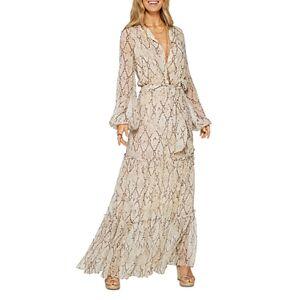Ramy Brook Enya Snake-Print Dress  - Female - Sand Combo - Size: Small