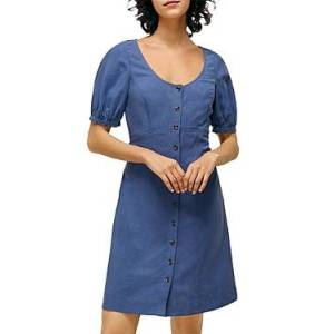 Whistles Tara Scoop Linen Mix Dress  - Female - Blue - Size: 18 UK/14 US