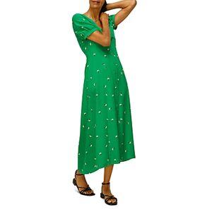 Whistles Floral Print Silk Dress  - Green Multi - Size: 18 UK/14 US