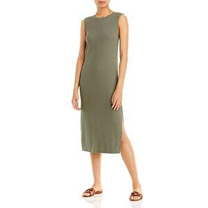 Aqua Rib Knit Muscle Tee Midi Dress - 100% Exclusive  - Surplus Gray - Size: Large