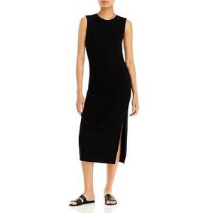 Aqua Rib Knit Muscle Tee Midi Dress - 100% Exclusive  - Female - Black - Size: Small