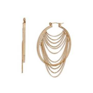 Allsaints Draped Chain Hoop Earrings  - Female - Warm Brass