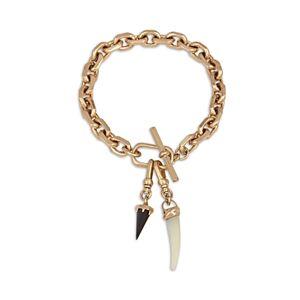 Allsaints Onyx & Mother-of-Pearl Horn Charm Bracelet  - Female - White/warm
