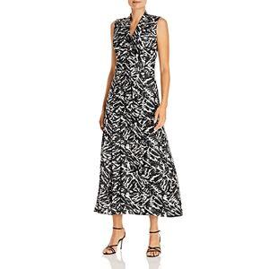 Jason Wu Zebra Print Silk Midi Dress  - Female - Black/Porcelain - Size: 6