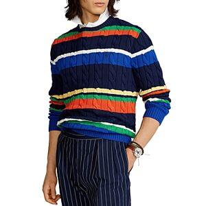 Ralph Lauren Polo Ralph Lauren Striped Cotton Cable Knit Sweater  - Male - Multi - Size: 2X-Large