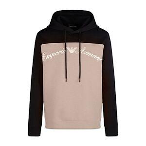 Armani Emporio Armani Colorblocked Logo Hoodie  - Male - Solid Black - Size: Extra Large