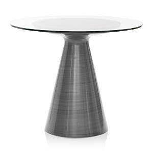Mitchell Gold Bob Williams Addie 48 Round Dining Table  - Pewter Base With Glass Top
