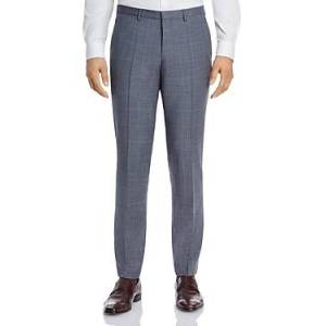 Hugo Boss Hesten Tonal Plaid Extra Slim Fit Suit Pants  - Gray/Light Blue - Size: 30R