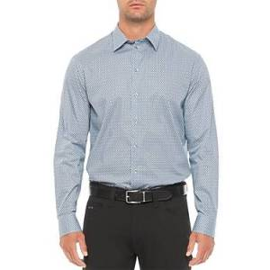 Armani Emporio Armani Cotton Blend Regular Fit Shirt  - Male - Blue - Size: Medium