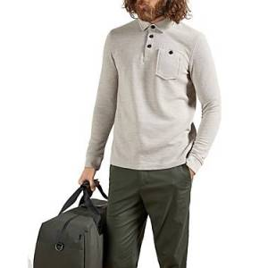 Ted Baker Pocket Long Sleeve Polo  - Male - Natural - Size: Extra Small