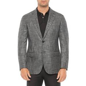 Armani Emporio Armani Regular Fit Solid Jacket  - Male - Solid Dark Gray - Size: 50 IT / 40 US