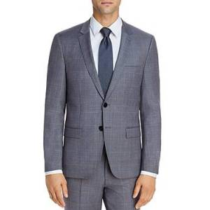 Hugo Boss Astian Tonal Plaid Extra Slim Fit Suit Jacket  - Male - Gray/Light Blue - Size: 42R