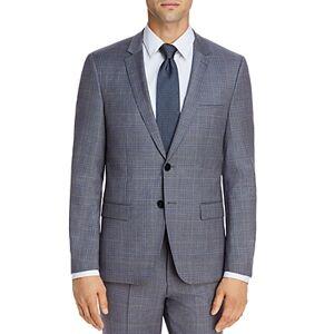 Hugo Boss Astian Tonal Plaid Extra Slim Fit Suit Jacket  - Male - Gray/Light Blue - Size: 46R