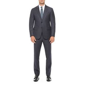 Armani Emporio Armani Regular Fit Solid Wool Suit  - Male - Solid Dark Blue - Size: 48 IT / 38 US