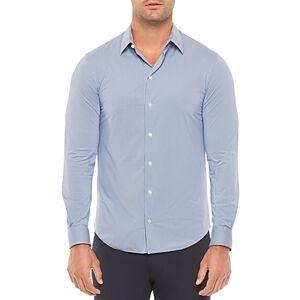 Armani Emporio Armani Regular Fit Solid Stretch Shirt  - Striped Blue - Size: Small