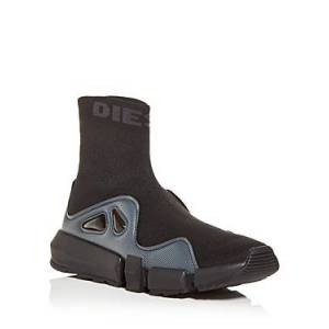 Diesel Men's Padola Knit High Top Sneakers  - Male - Black - Size: 10.5