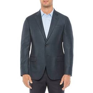 Armani Emporio Armani Regular Fit Wool Dark Solid Jacket  - Male - Solid Dark - Size: 50 IT / 40 US