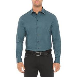 Armani Emporio Armani Cotton Blend Regular Fit Shirt  - Blue - Size: 3X-Large