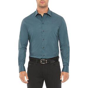 Armani Emporio Armani Cotton Blend Regular Fit Shirt  - Male - Blue - Size: 3X-Large