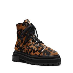 Schutz Women's Maylova Block Heel Platform Combat Boots  - Female - Black/Natural Calf Hair - Size: 5
