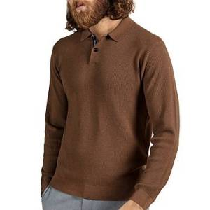 Ted Baker Long Sleeve Knit Polo  - Male - Camel - Size: 2X-Large