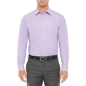 Armani Emporio Armani Cotton Regular Fit Shirt  - Male - Solid Light Purple - Size: 15