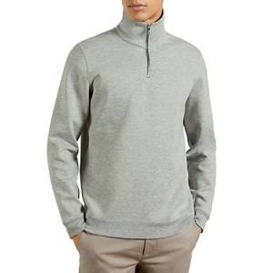 Ted Baker Ayfive Half Zip Funnel Neck Sweater  - Male - Gray Marl - Size: Small