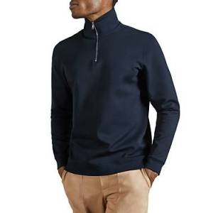 Ted Baker Ayfive Half Zip Funnel Neck Sweater  - Male - Navy - Size: Small