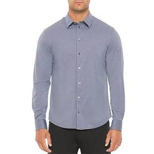 Armani Emporio Armani Regular Fit Solid Stretch Shirt  - Male - Gray - Size: 3X-Large