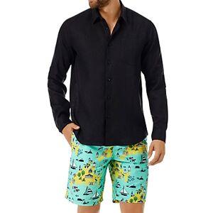Vilebrequin Linen Regular Fit Shirt  - Male - Black - Size: Extra Large