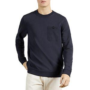 Ted Baker Cotton Blend Pocket Sweatshirt  - Male - Dark Navy - Size: Medium