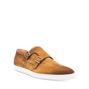 Santoni Men's Freemont Double Buckle Dress Shoes  - Light Brown - Size: 9
