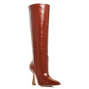 Stuart Weitzman Women's Parton High Heel Boots  - Female - Cognac Leather - Size: 11