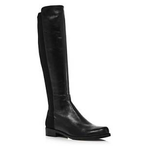 Stuart Weitzman Women's Half N' Half Low Heel Boots  - Female - Black Leather - Size: 7.5