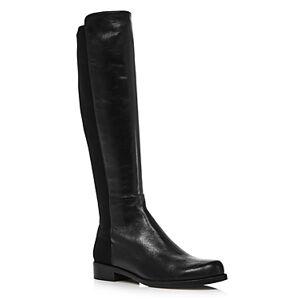 Stuart Weitzman Women's Half N' Half Low Heel Boots  - Female - Black Leather - Size: 7
