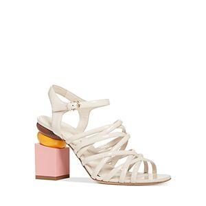 Salvatore Ferragamo Women's Leonor Strappy Block Heel Sandals  - Female - Bone - Size: 7.5 - Wide