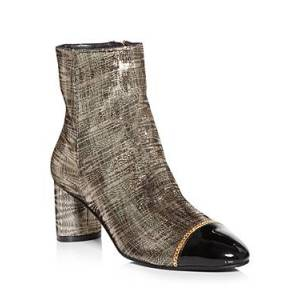 Stuart Weitzman Women's Violene Cap Toe High Heel Booties  - Female - Platino/Black - Size: 8.5