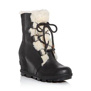 Sorel Women's Joan of Arctic Wedge Ii Waterproof Shearling Hidden Wedge Boots  - Female - Black - Size: 10