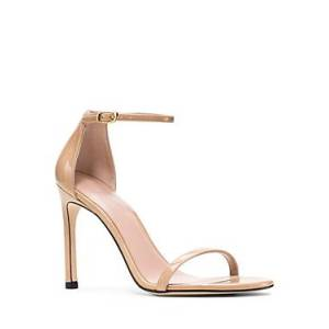 Stuart Weitzman Women's Nudistsong High-Heel Sandals  - Female - Adobe Patent Leather - Size: 10.5
