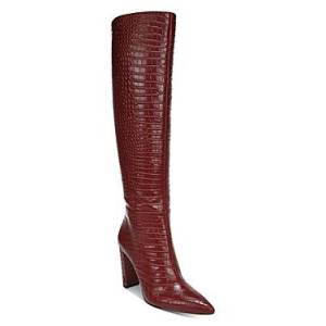 Sam Edelman Women's Raakel 2 Croc-Embossed Block Heel Tall Boots  - Female - Spiced Red - Size: 5