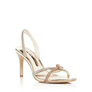 Sophia Webster Women's Giovanna Crystal Embellished Glitter Slingback Sandals  - Female - Gold - Size: 8