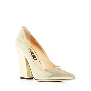 Sergio Rossi Women's Embossed Pointed-Toe High-Heel Pumps  - Female - Gold Metallic - Size: 8