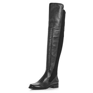 Stuart Weitzman Women's Langdon Over-the-Knee Boots  - Female - Black Leather - Size: 7.5