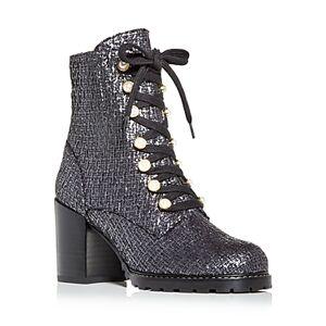 Stuart Weitzman Women's Ivey Tweed High Block Heel Combat Boots  - Female - Flannel - Size: 6.5